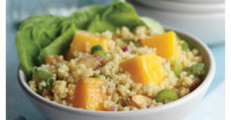 Quinoa Salad with Mango Chunks and Curry Mango Dressing