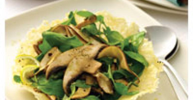 Shaved Portobello and Arugula Salad in Parmesan Tuile