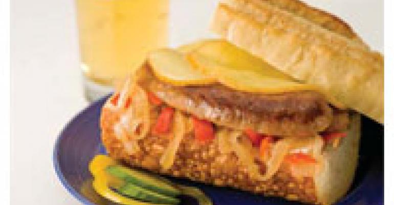 Grilled Chorizo & Smoked Gouda Sandwich with Onion & Chili Relish