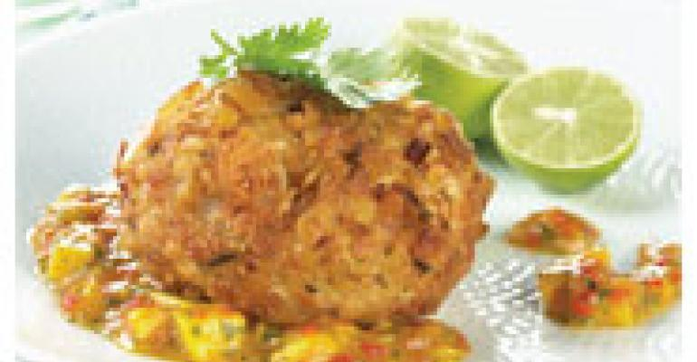 Crispy Plantain-Crusted Crab Cake with Mango Habaero Salsa