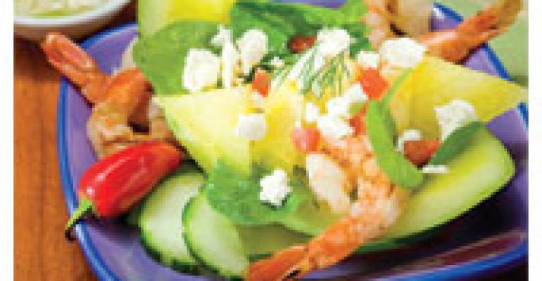 Grilled Shrimp, Feta, Fennel and Spinach Salad