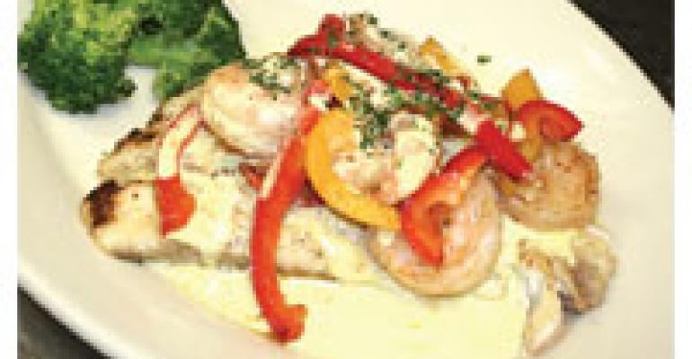 Seared Tasman Sea Barramundi with Sauted Shrimp