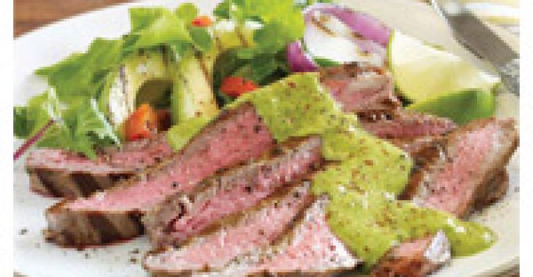 Lemon Avocado Oil Marinated Flank Steak with Avocado Chimichurri Sauce