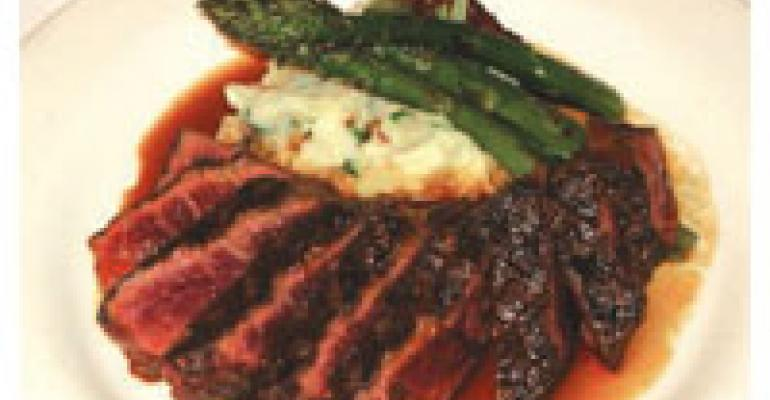 Grilled Denver Steak with Smoked Bacon and Buttermilk Blue Cheese Mashed Potatoes, Asparagus and Madeira Sauce