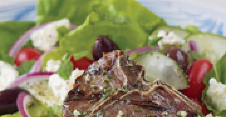 Herbed Greek Lamb Loin Chops with Feta Salad