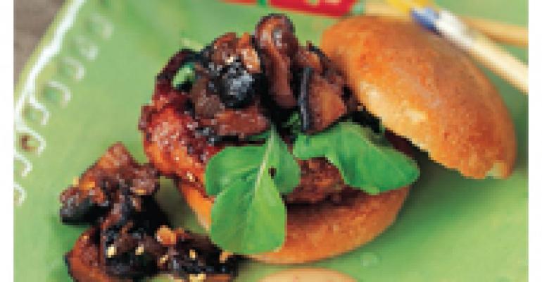 Mini Duck Burgers with Shiitake Mushroom Ketchup and Chinese-Style Mustard Sauce