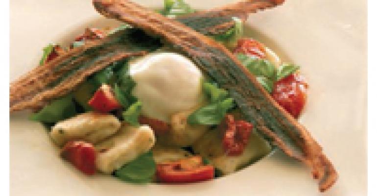Potato-Cheddar Gnocchi with Bacon and Eggs