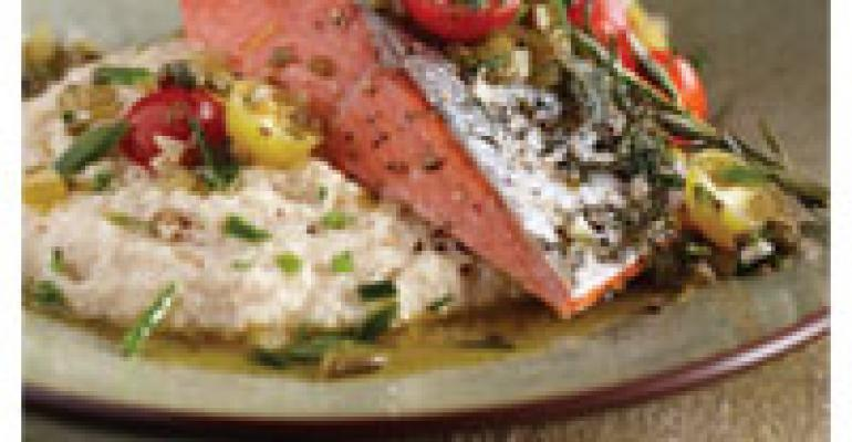 Wild Alaska Salmon with White Corn Grits and Sungold Tomato Salsa
