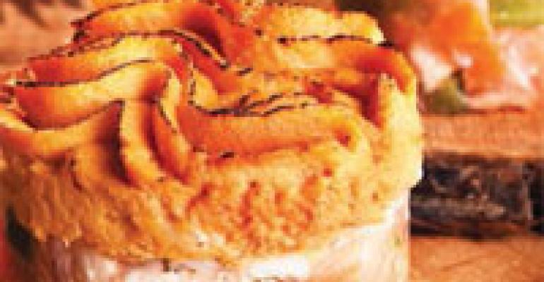 Sweet Potato and Swiss Cheese Pink Salmon Shepherd's Pie