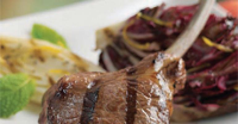 American Lamb Rib Chops Scottadita with Grilled Radicchio and Endive