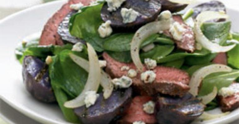 Blackened Steak and Blue Potato Spinach Salad