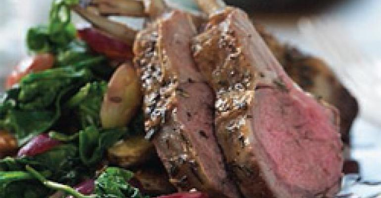 Roasted Rack of Lamb with Grapes