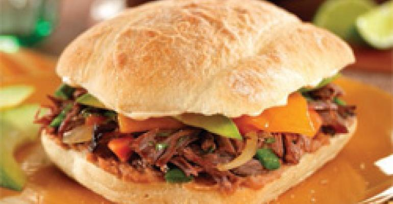 Southwest Shredded Beef Torta with Ancho Chile Mayo