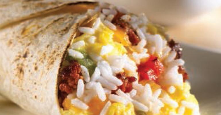 Chorizo, Rice and Egg Wrap