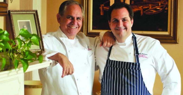 John Folse at left and Rick Tramonto spent nearly two years developing their Restaurant Rrsquoevolution concept