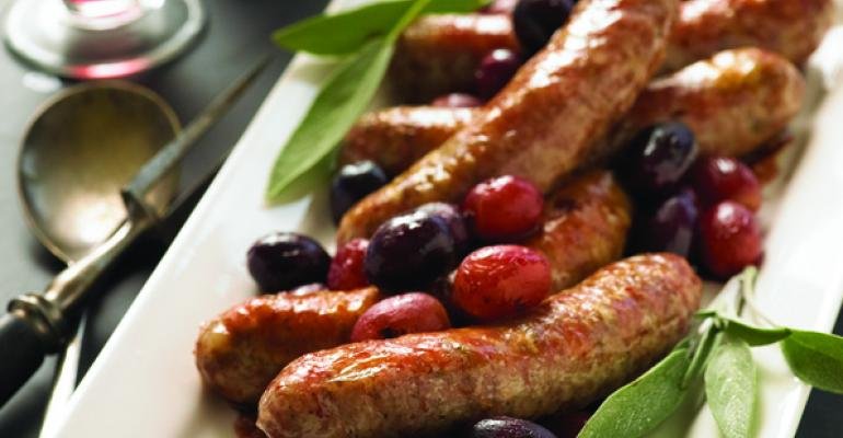 sausages and grapes