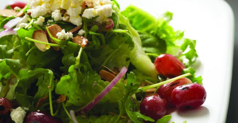 Grilled Grape and Arugula Salad