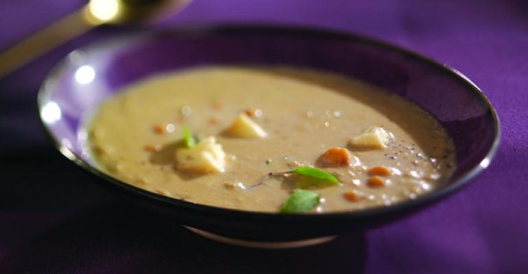 Chick Pea and Grilled Eggplant Soup with Wisconsin Brie