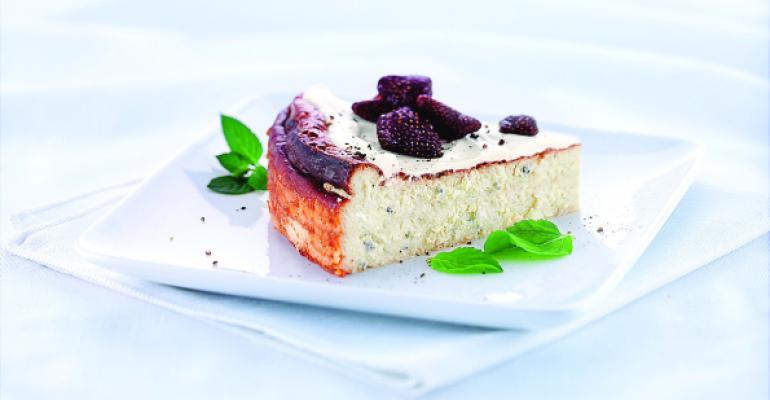 Gorgonzola Cheesecake With Wisconsin Gorgonzola and Dried Strawberries