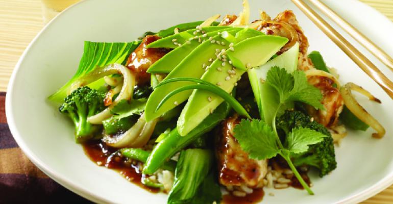 Teriyaki Chicken Stir-Fry with California Avocados and Brown Rice