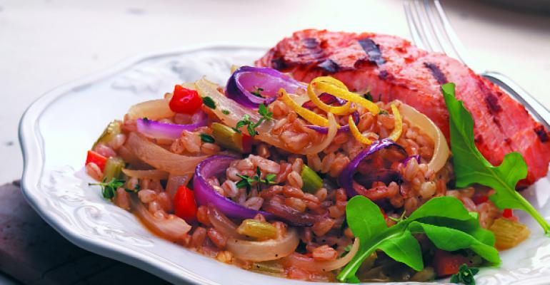 Warm Farro Salad with Sherry-Glazed Onions