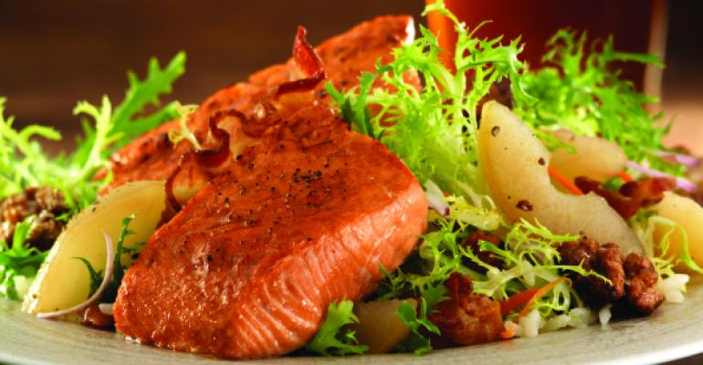Salmon Salad with Poached Pear and Bacon Sherry Vinaigrette