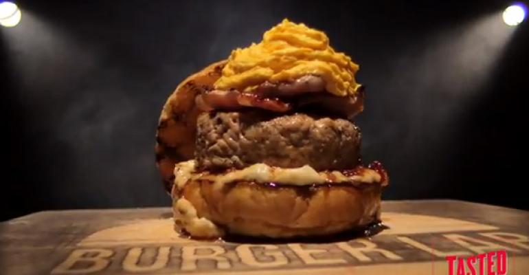 Chef Richard Blais creates Super Bowl-themed burger