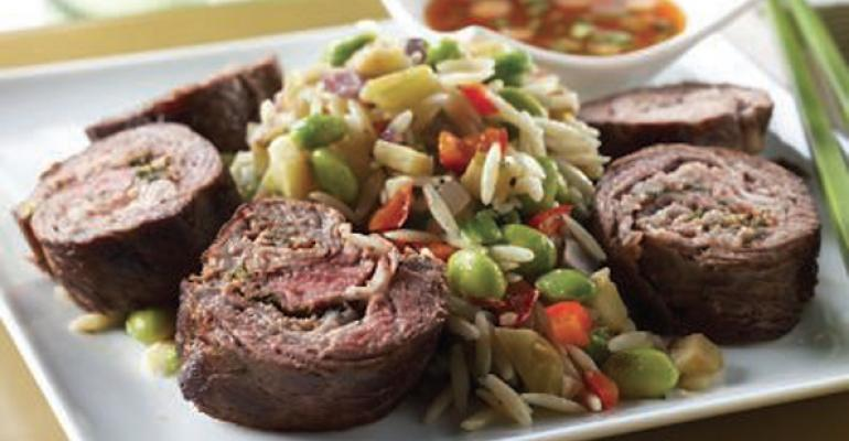 Dill-Stuffed Beef with Edamame and Tofu Orzo