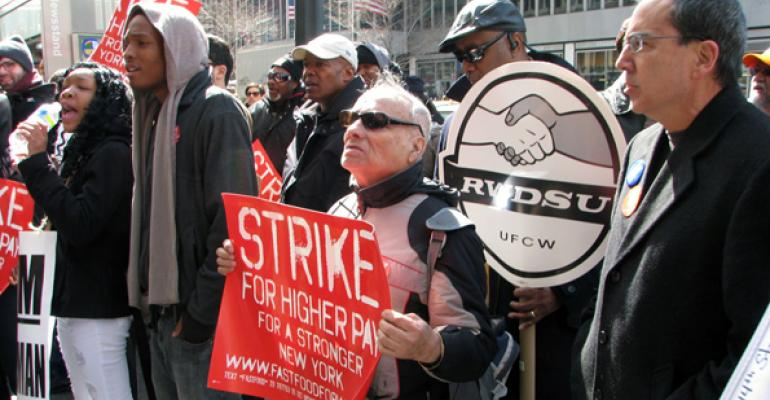Fastfood workers went on strike in New York earlier this year
