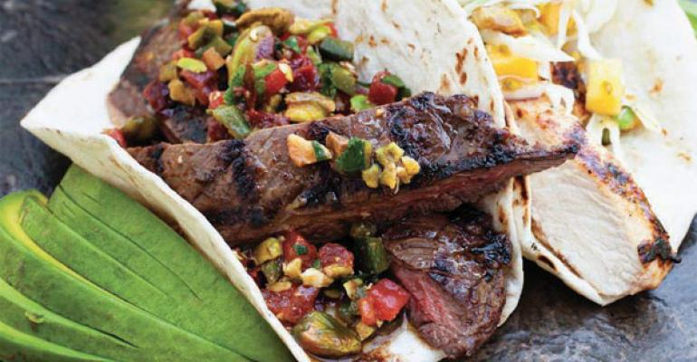 Grilled Skirt Steak with Smoked Pistachio Chipotle Salsa