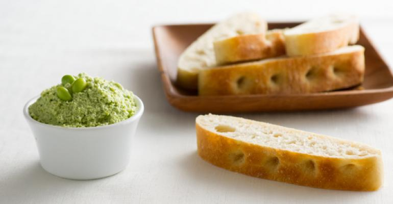 Mint Edamame Hummus with Focaccia