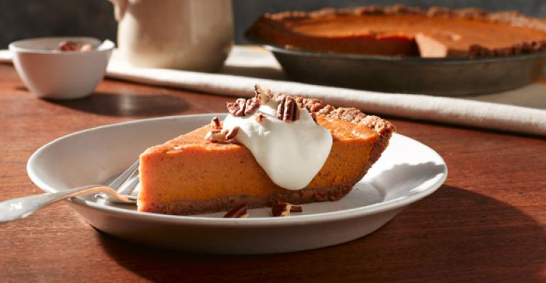 Fluffy Sweet Potato Bourbon Pie with Whipped Cream and Toasted Pecans