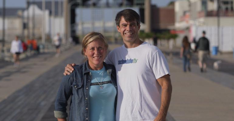 Marilyn Schlossbach and Wil Brawley on the boardwalk in front of one of Marilynrsquos restaurants Langosta Lounge in Asbury Park NJ