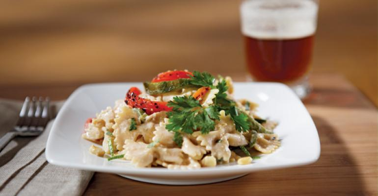 Farfalle with Corn Cream Sauce, Roasted Poblano and Red Bell Pepper Rajas