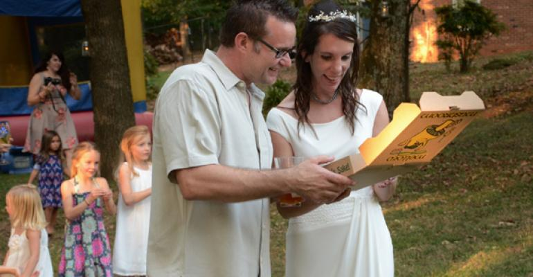 Stephen and Heidi Smith were treated to Mellow Mushroom pizza at their wedding