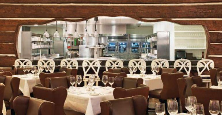 Diners can watch Elena the regular cast of superstar chefs and other surprise visitors in action from the main dining room of Chefs Club