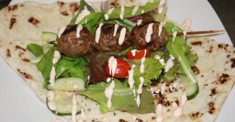Grilled Lamb Kefta Spiced Kebob Flat Bread