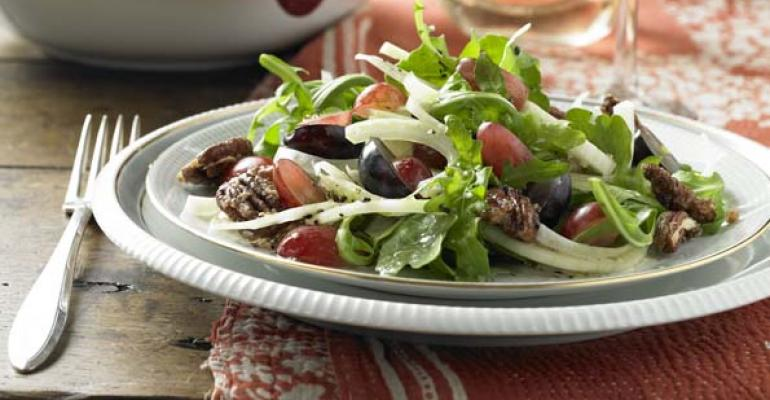Fennel, Grape and Arugula Salad with Candied Pecans