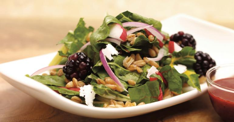 Swiss Chard and Farro Salad with Blackberry Clove Vinaigrette