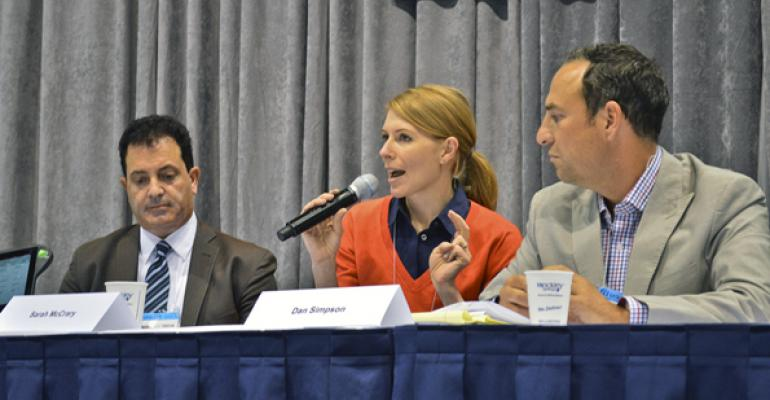 Sarah McCrary of Leaf discusses the goal of restaurant technology providers connecting with each other while  AT Toroyan of Tossed Franchise Corp left and Dan Simpson of ToGo Technologies look on