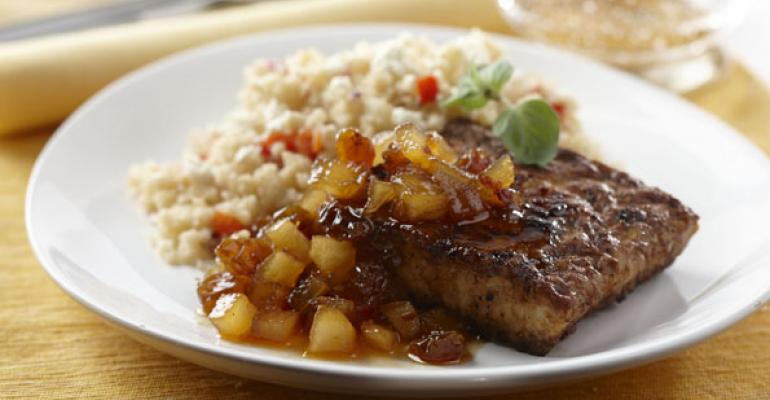 Marinated Tempeh with Couscous and Pear Tarragon Chutney