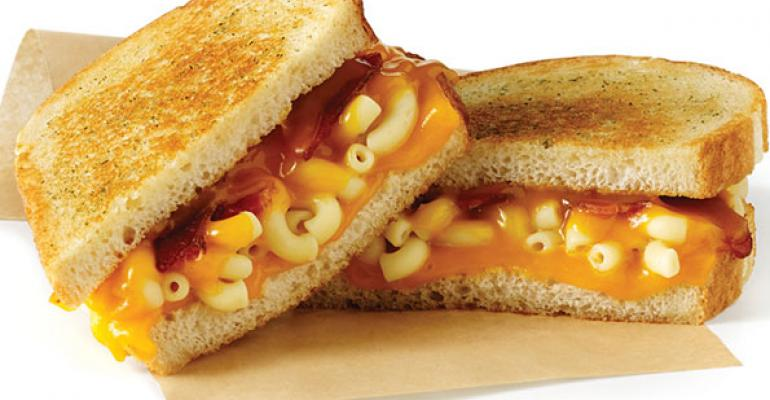 The Mac Daddy features aged cheddar smoked bacon and macaroni on white