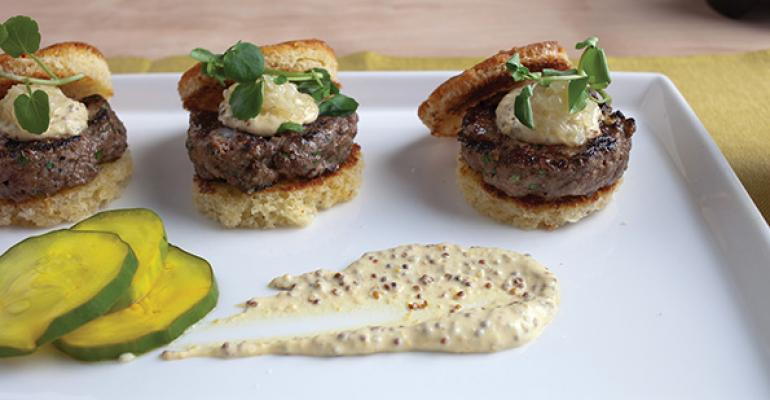 Colorado Lamb Sliders with Onion Confit, Pickles and Mustard Crema