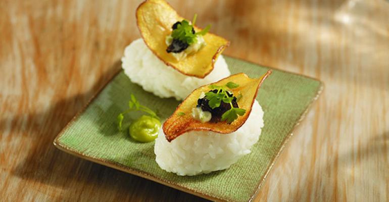 """La Ratte"" Potato Chip on Sushi"