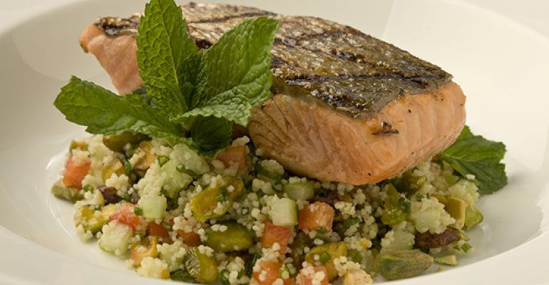 Grilled Salmon and Citrus Pistachio Couscous Salad