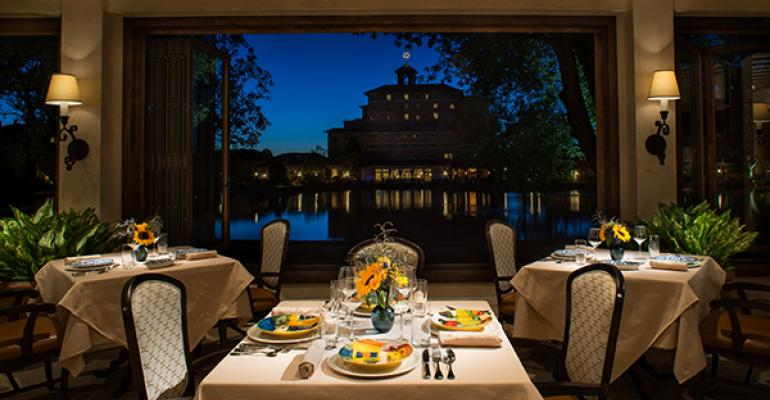 Ristorante Del Lago overlooks the central lake and main building at the Broadmoor