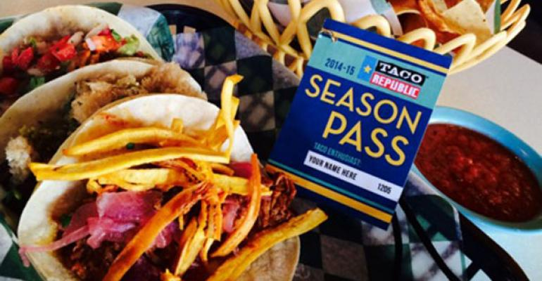The 20142015 Taco Republic Season Pass entitles owners to their choice of three tacos with chips and salsa each day from December 5 2014 through March 5 2015