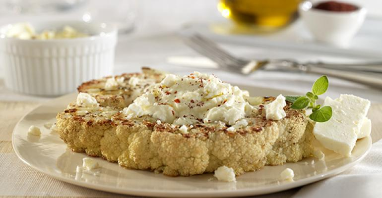 Mediterranean Roasted Cauliflower Steaks with Feta Souffle