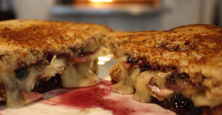 PBampJ Pears Brie and Jam Grilled Cheese Sandwich