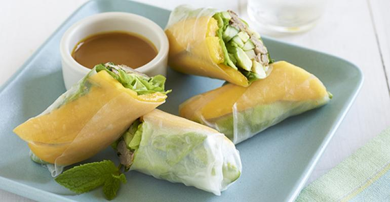 Pulled Pork and Mango Rolls with Carolina Mustard Sauce